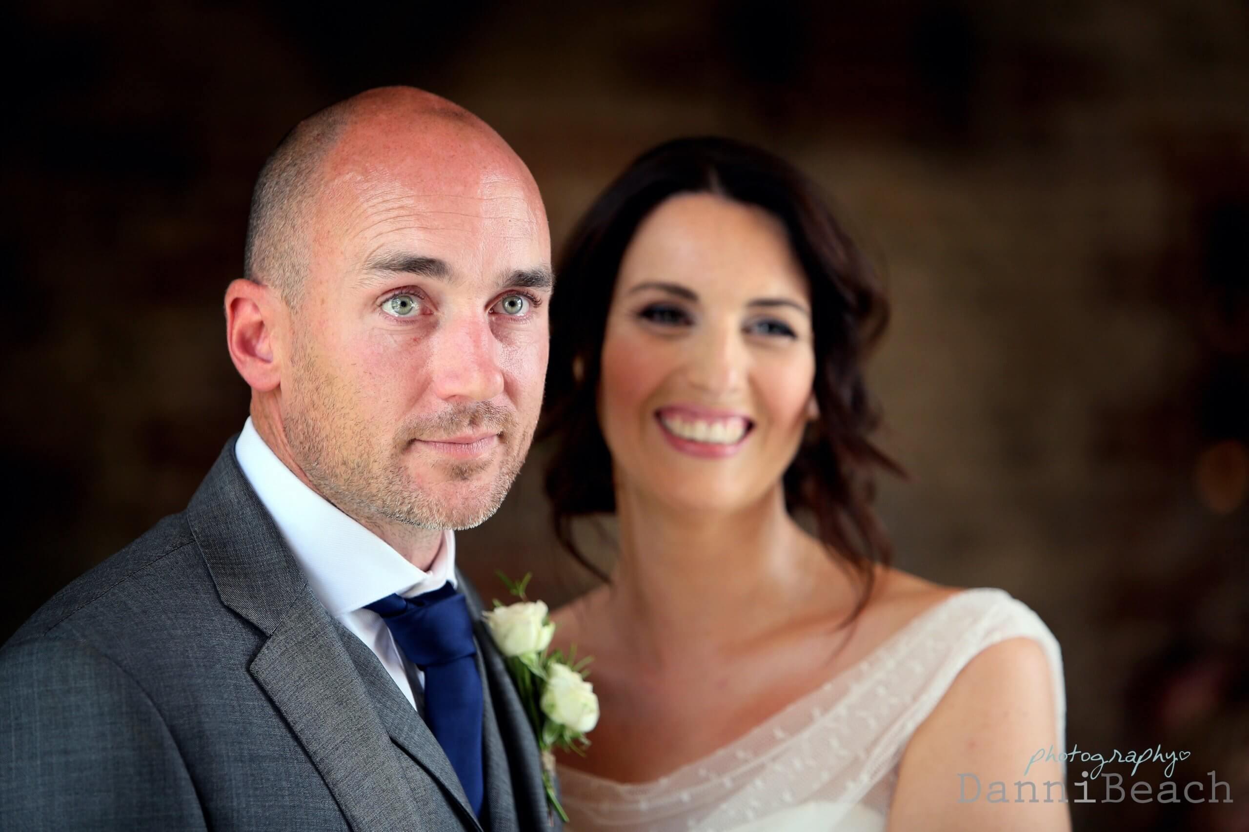 Bride and groom wedding ceremony upwaltham barns