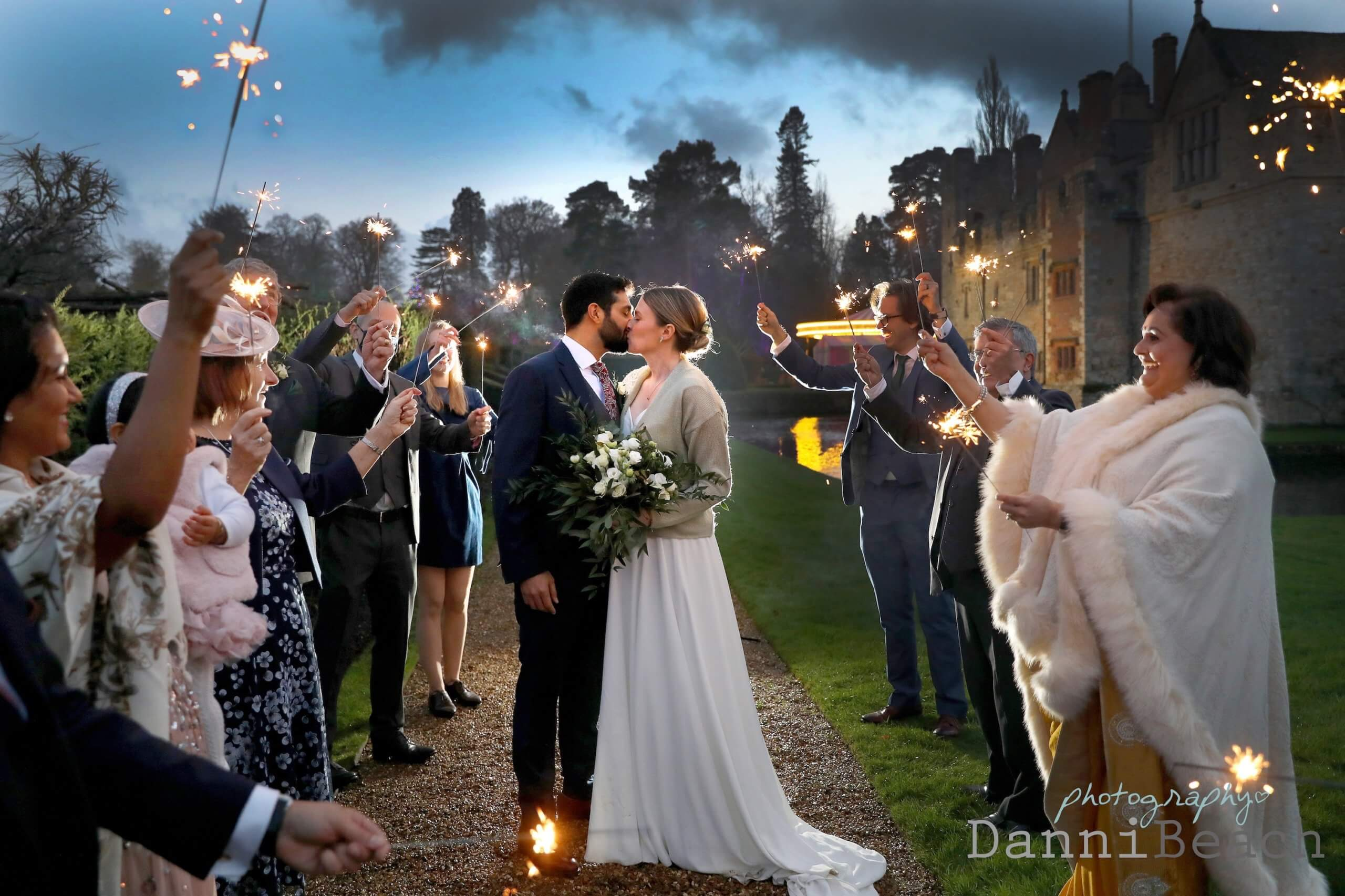 Hever Castle Christmas wedding Sparklers