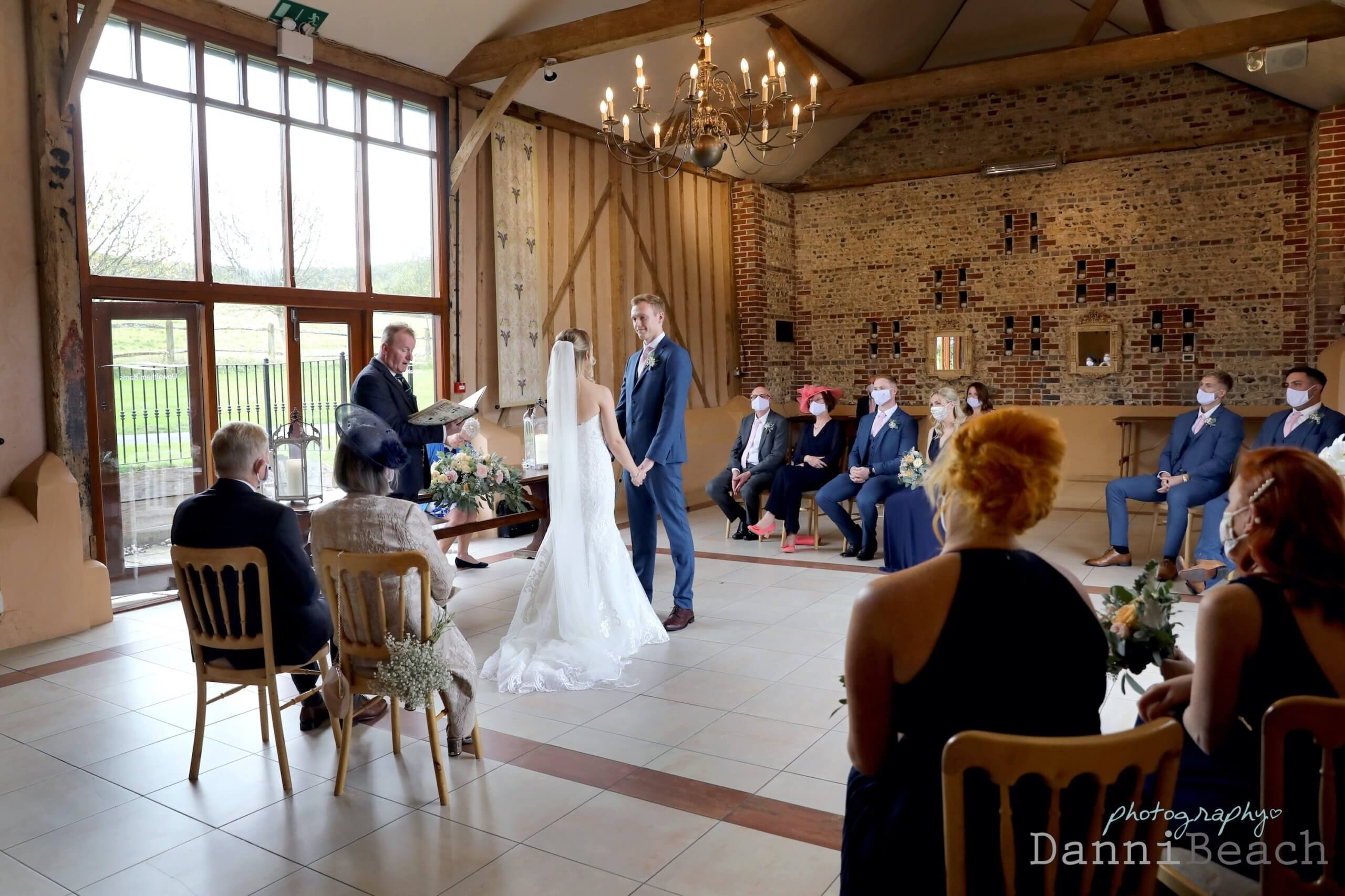 small intimate wedding Sussex Barn