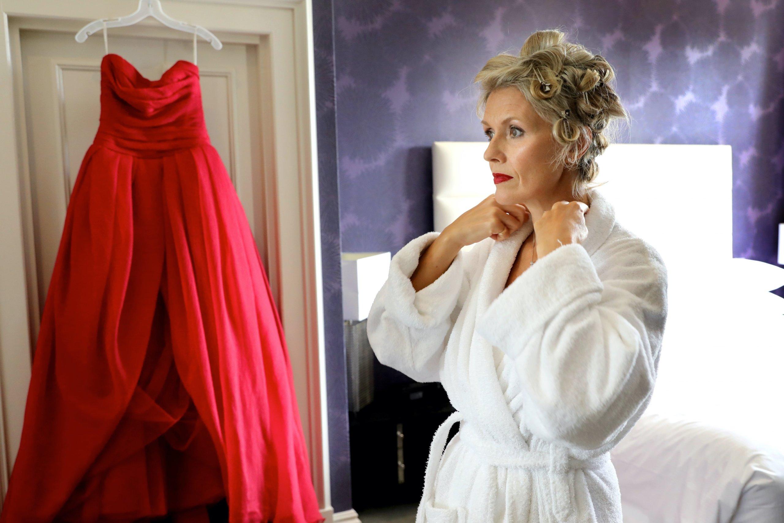 red wedding dress sussex wedding photographer