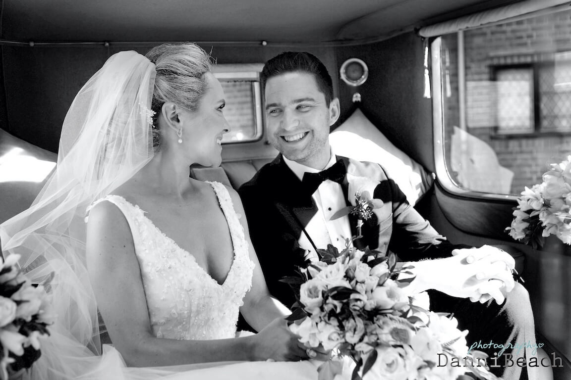 bride and groom car kent wedding black and White