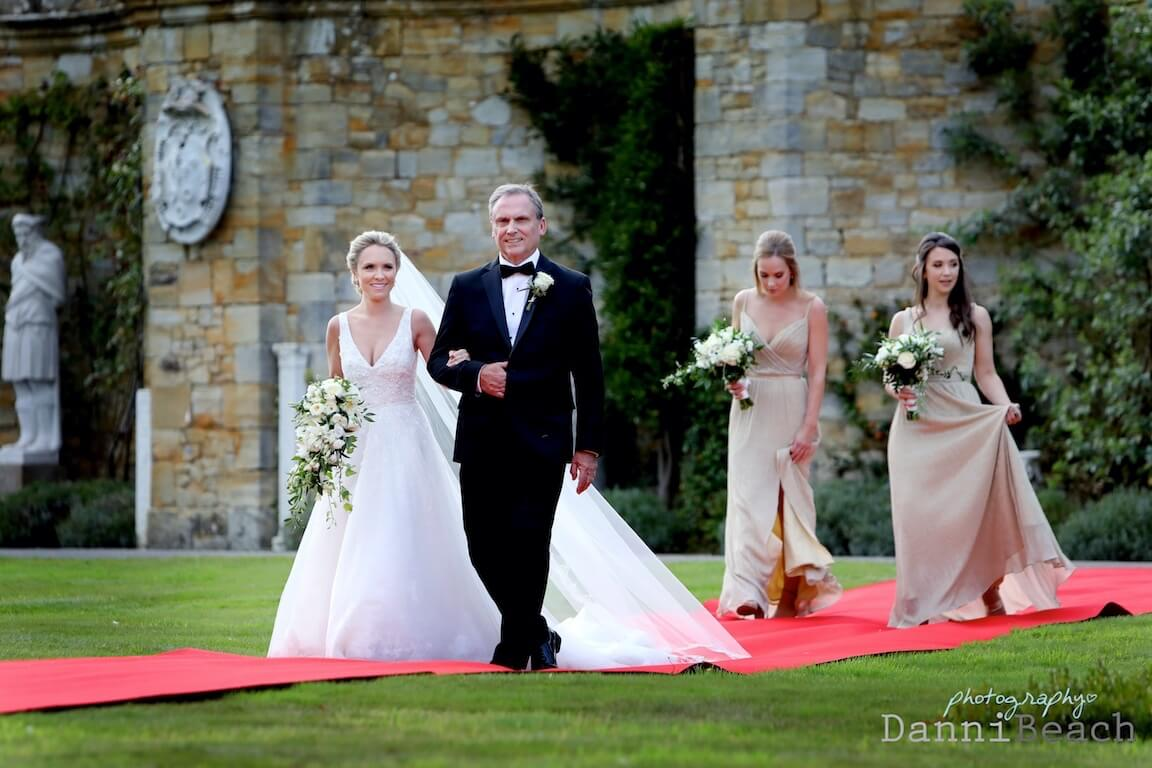 Red carpet bride arrival at Kent Hever Castle