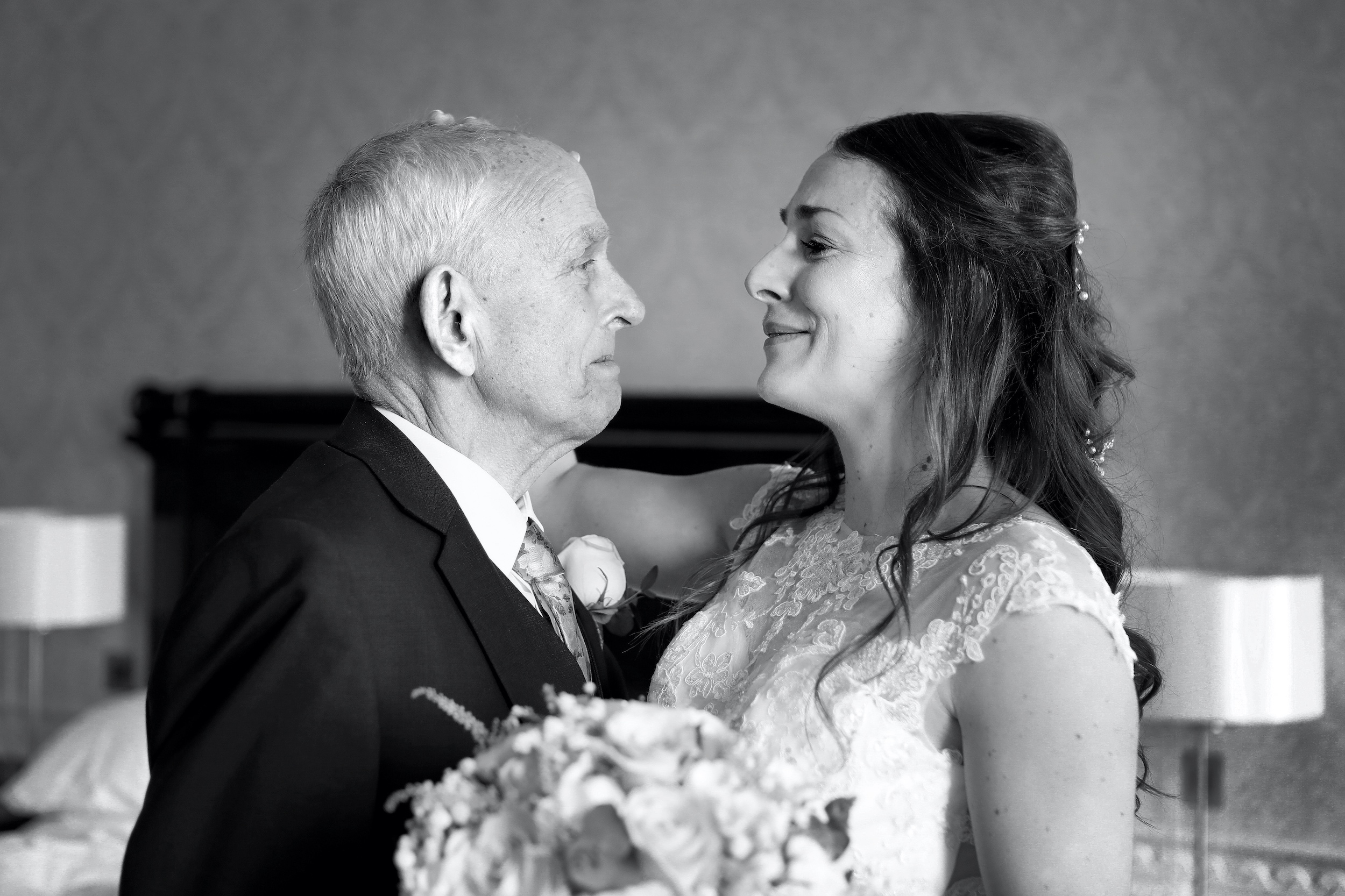 bride and father candid wedding photography