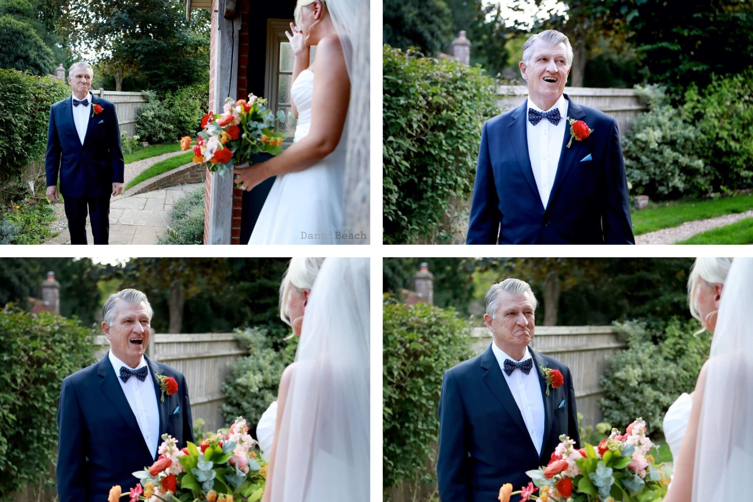 Father of the brides reaction to his daughter sussex wedding photographer