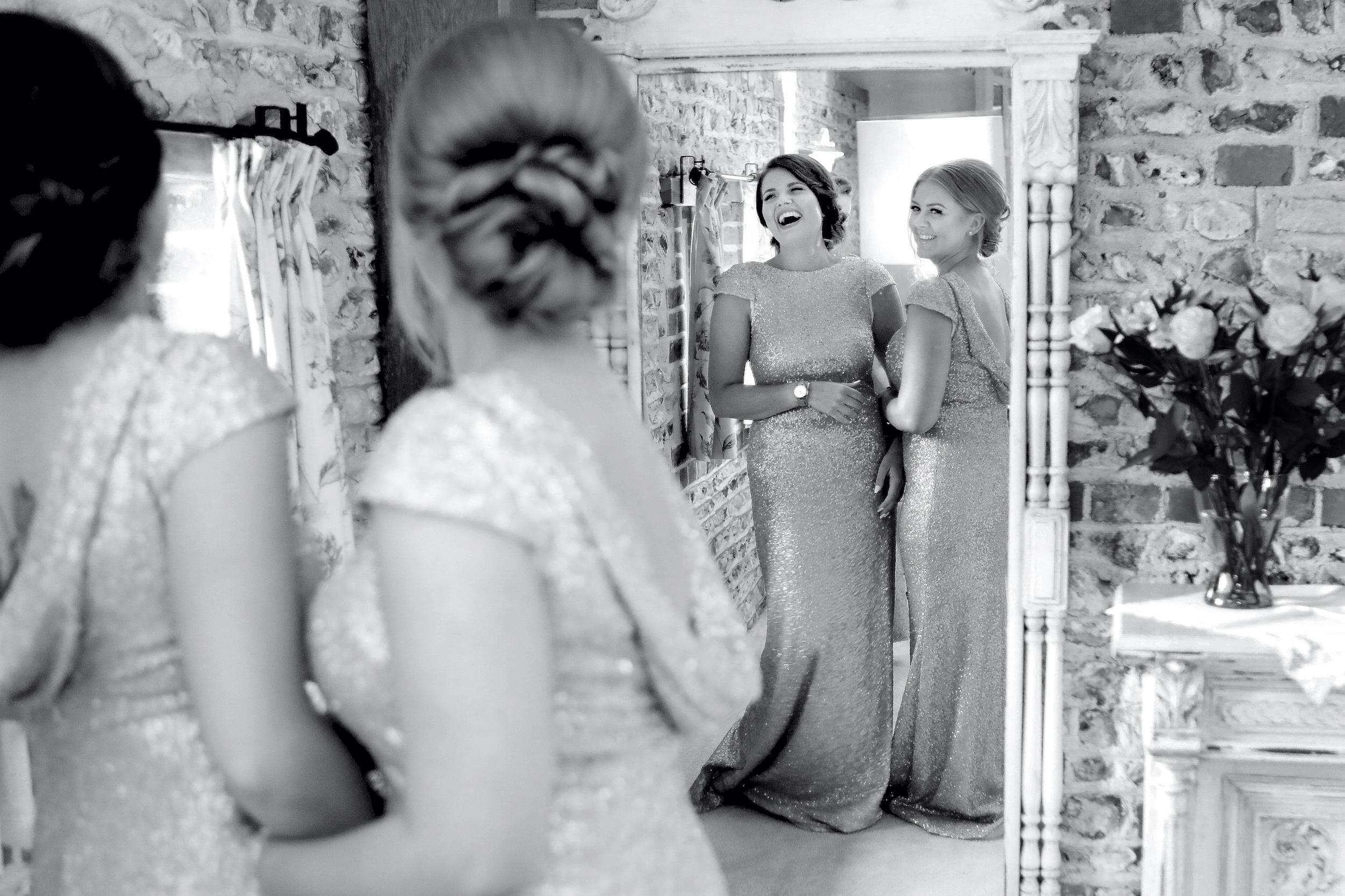 candid wedding photography bridesmaids upwaltham barns