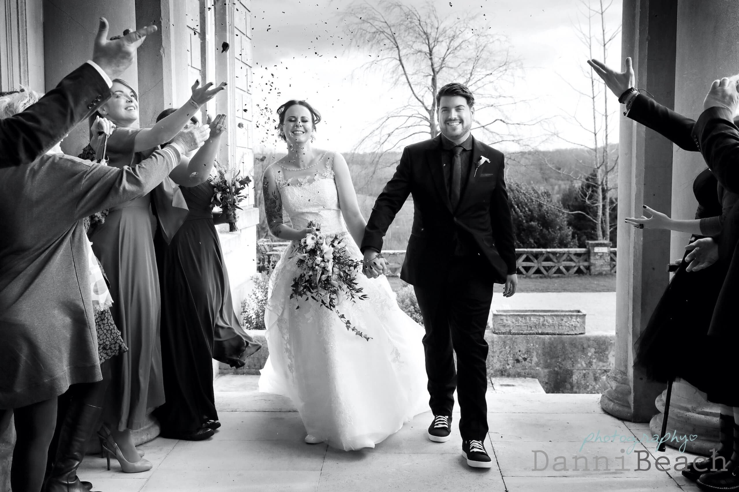 confetti at a winter weddING BUXTED PARK WEDDING PHOTOGRAPHER